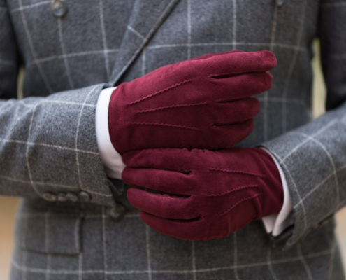 Burgundy Unlined Lamb Suede Gloves with Green Contrast Leather Button Gloves - Fort Belvedere