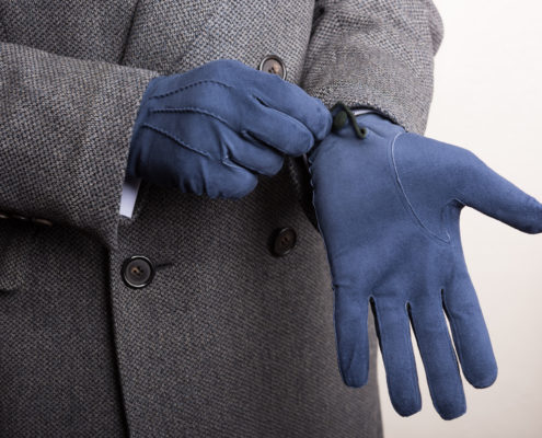 Navy Blue Gray Suede Gloves made of unlined Suede Leather with overcoat