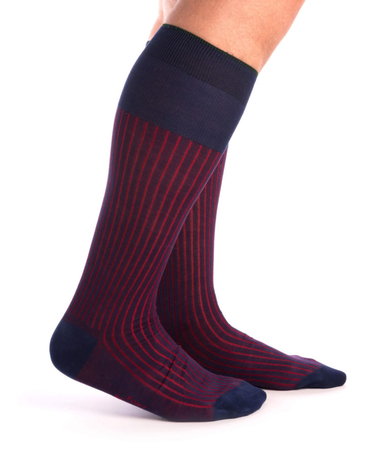 Over the calf Shadow Stripe Ribbed Socks Navy Blue & Red Fil d'Ecosse Cotton - Fort Belvedere