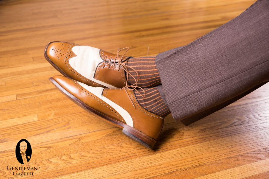 Brown suit slacks with a brown and white spectators by Allen Edmonds