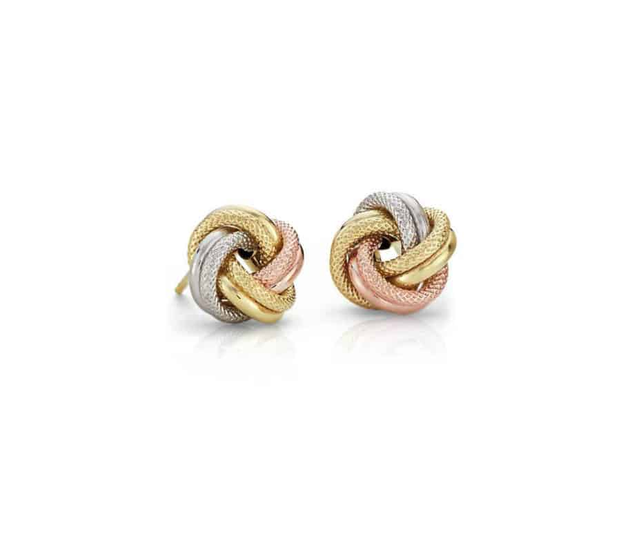 Tri Color Love Knot Earrings