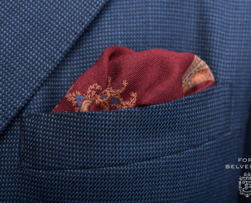 Wine red, yellow, blue green orange silk-wool medallion pocket square by Fort Belvedere