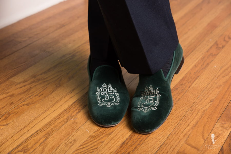 Albert Slippers are an option with your dinner jacket at home