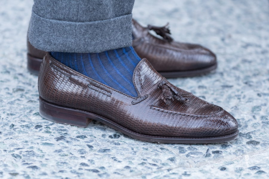 Brown Lizard Tassel Loafers with dark blue and royal blue shadow stripe socks and grey flannel