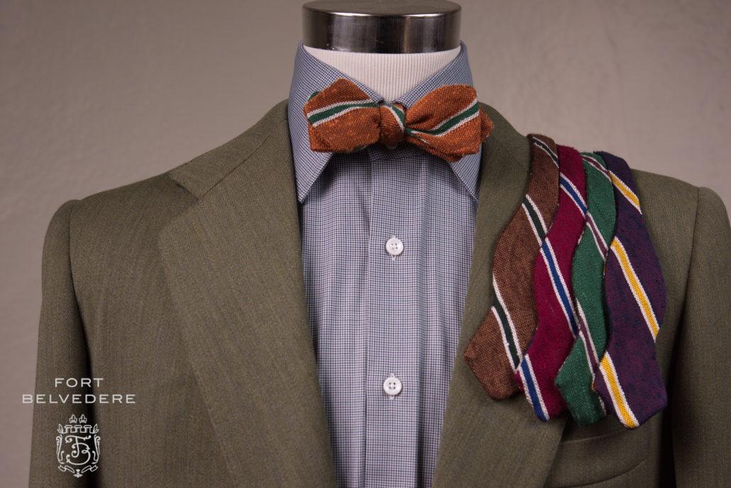 Green jacket with Shantung Silk Striped Two Tone Bow Tie Bronze Orange, Green, Cream - Fort Belvedere