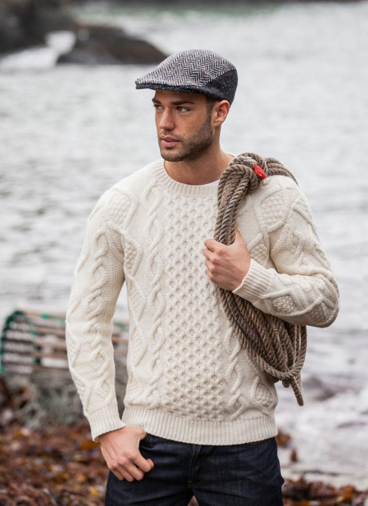 Aran Crew Neck Sweater from Blarney Woolen Mills