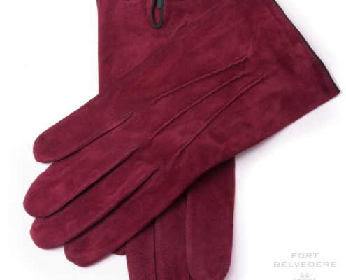 Burgundy Unlined Lamb Suede Gloves with Green Contrast Leather Button Gloves - Fort Belvedere Main