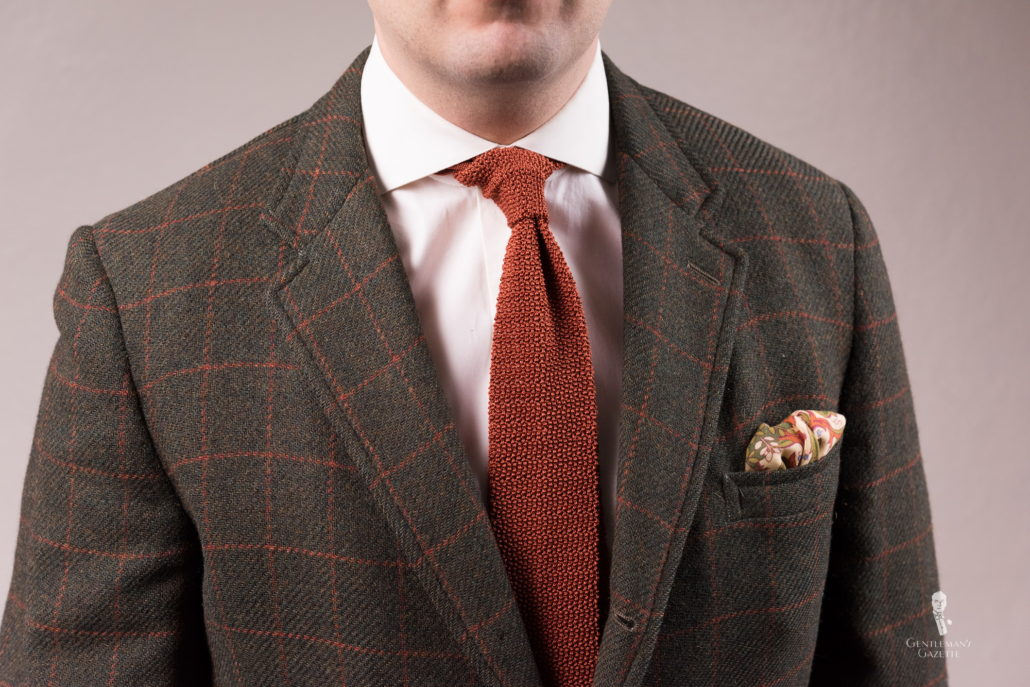 windowpane sportcoat with knit tie and Ivory Silk-Wool Pocket Square with Hunting Motifs - Fort Belvedere