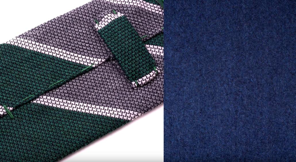 Cashmere Wool Grenadine Tie in Dark Green, Mid Gray, Off White Stripe creates a harmonious look with blue