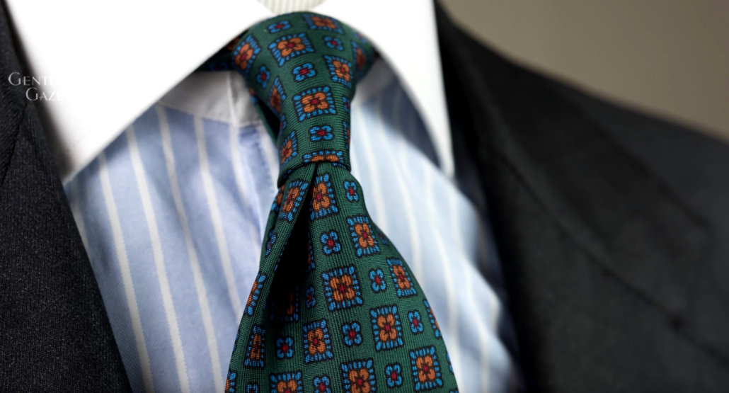 Green Madder Silk tie with Orange and Blue Macclesfield Neats Pattern