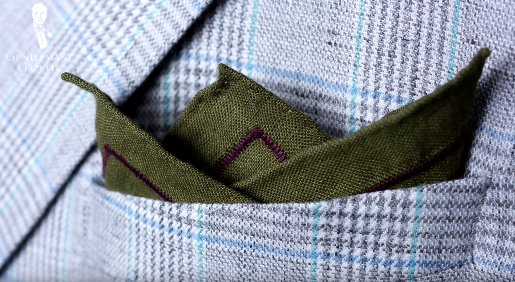 Olive Green Linen Pocket Square with Dark Brown Contrast Embroidery