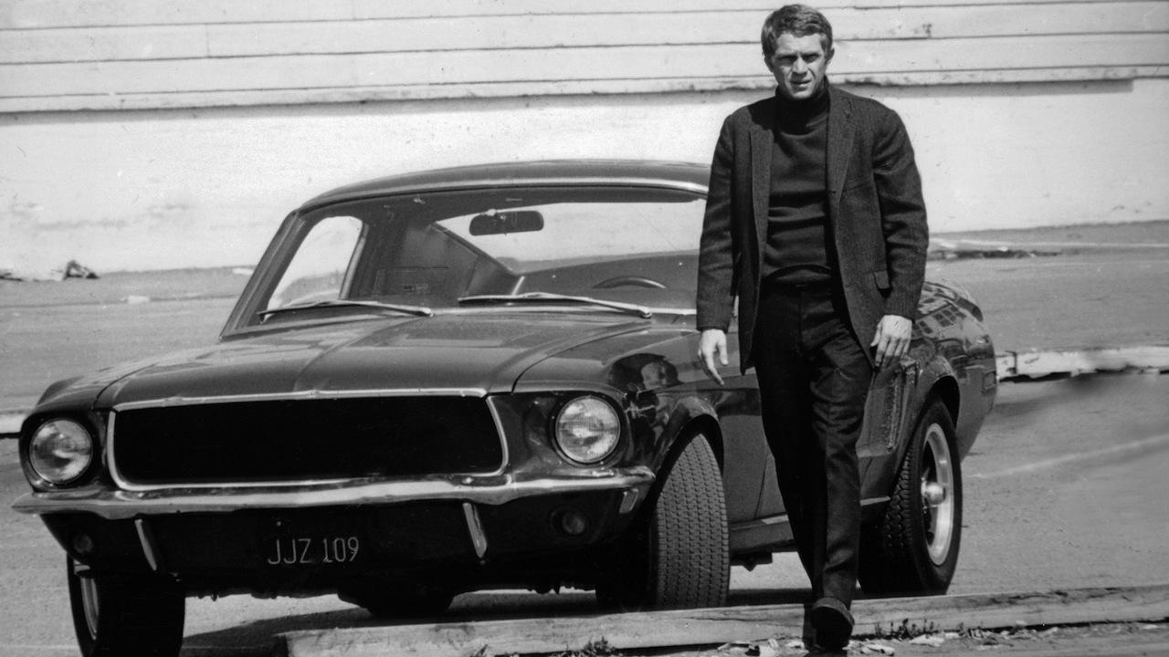 Steve McQueen with Bullitt's famous Mustang Fastback
