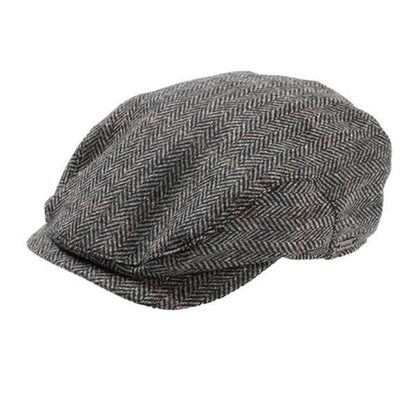 Mens 8 Panel Hat Wool Baker Boy Newsboy Flat Cap Grandad Tweed Check 1920s Peaky