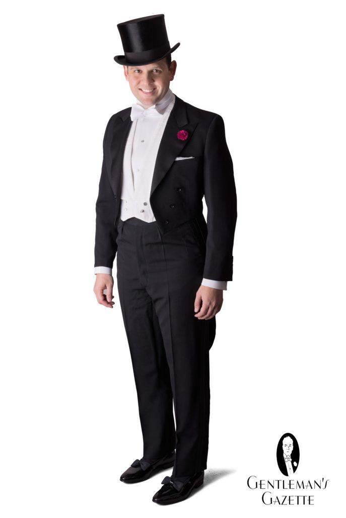 White tie tailcoat ensemble for evening weddings