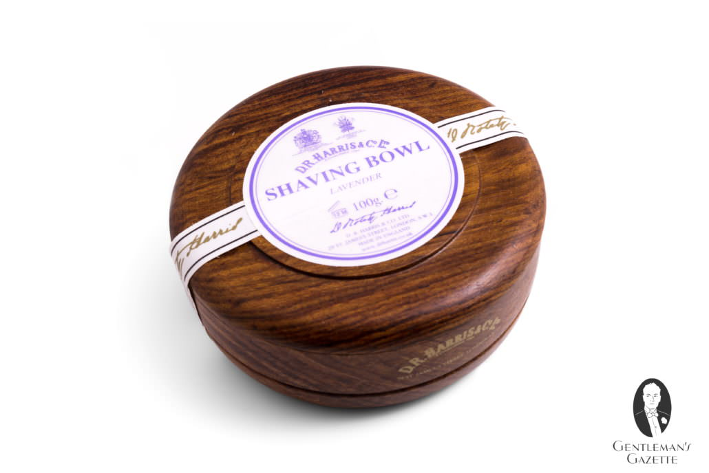 DR Harris Lavender Shaving Soap in Wooden Shave Bowl