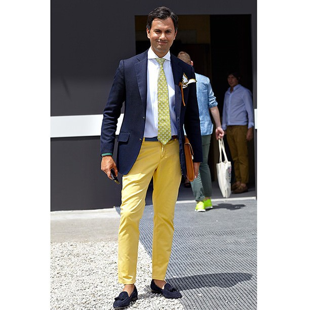 Pants yellow blue shirt with Men's Guide