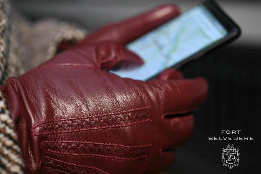 Burgundy Touchscreen Dress Gloves Lamb Nappa Leather by Fort Belvedere