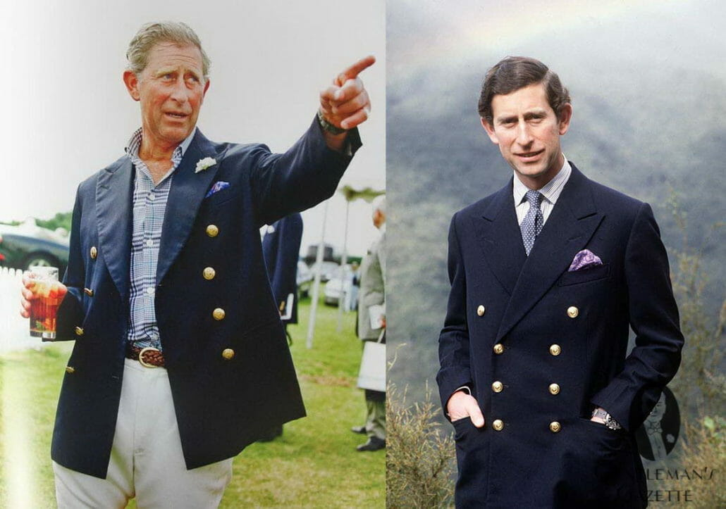 A rare moment of British Royal sprezzatura. Prince Charles with an open double-breasted blazer (and a glass of Pimm's).