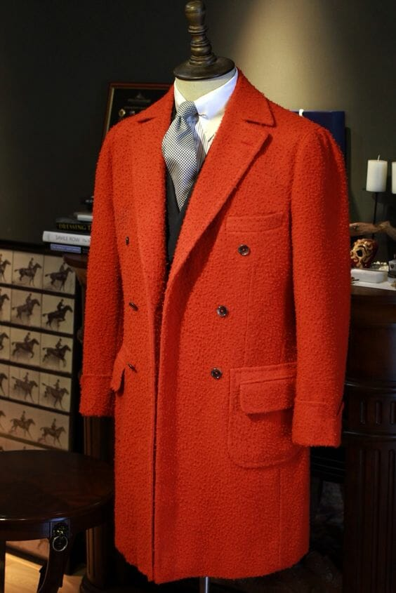 Casentino overcoat in red
