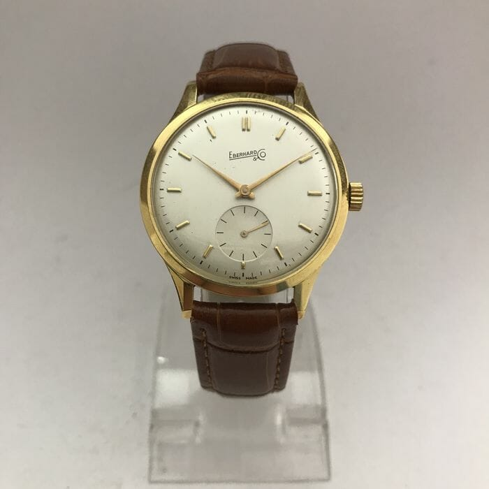 A gold-cased automatic Eberhard watch