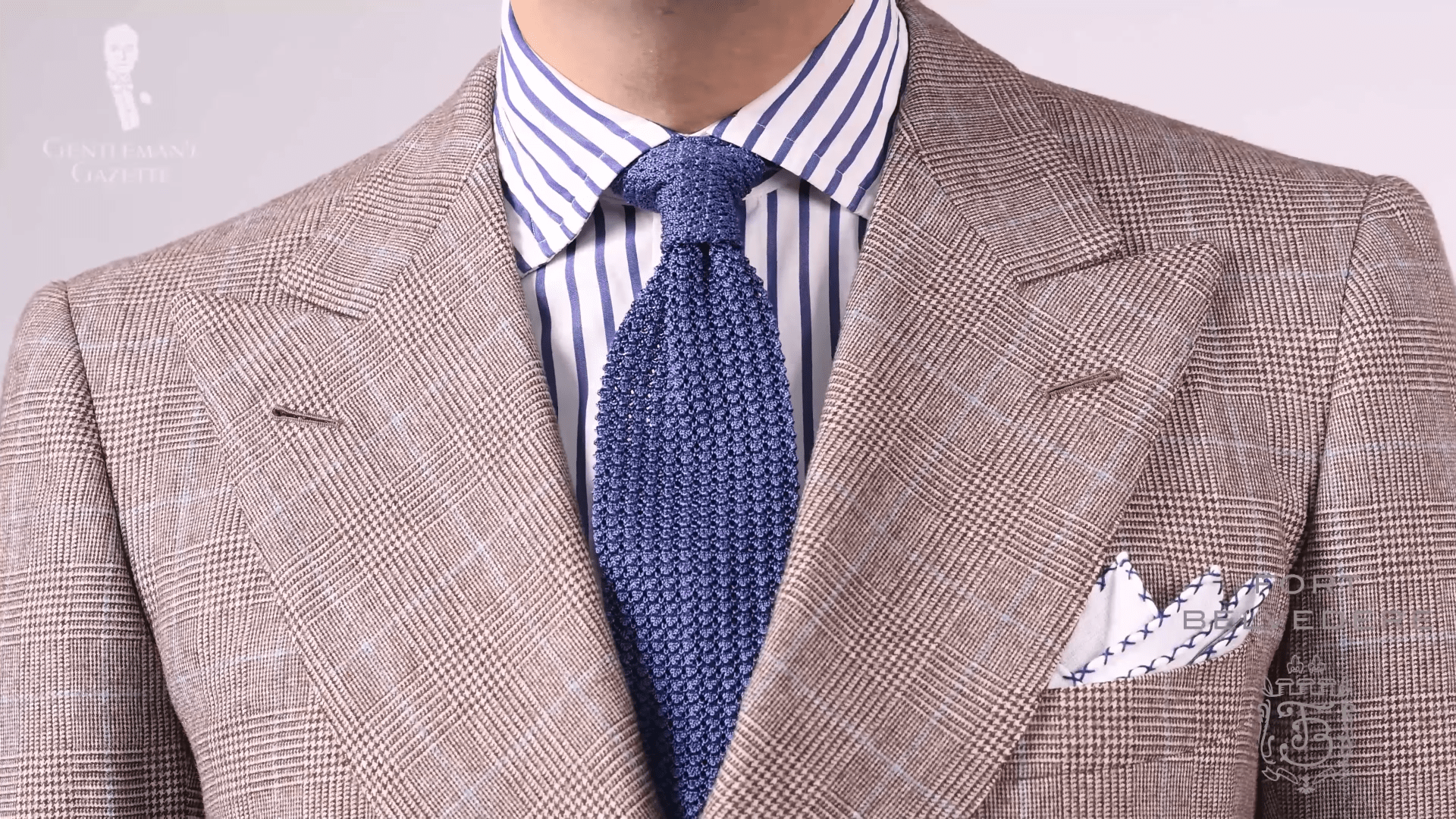 0eae16e15c783 Flannel Glenn plaid suit with striped shirt, solid blue knit tie, and blue  and
