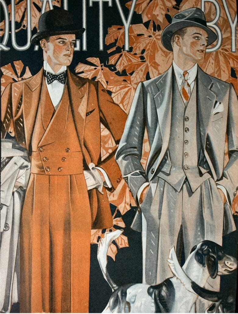 Vintage illustration of suits featuring double pleats from Kuppenheimer, a menswear retailer based in Chicago, photographed by John Blah.