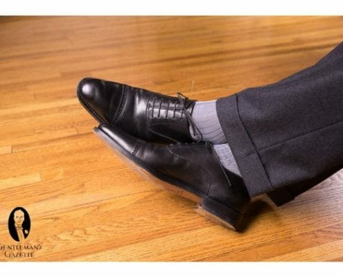 Black oxfords with OTC socks by Fort Belvedere