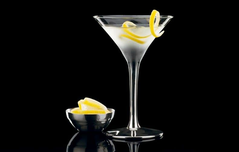 A Dry Martini garnished with a lemon twist