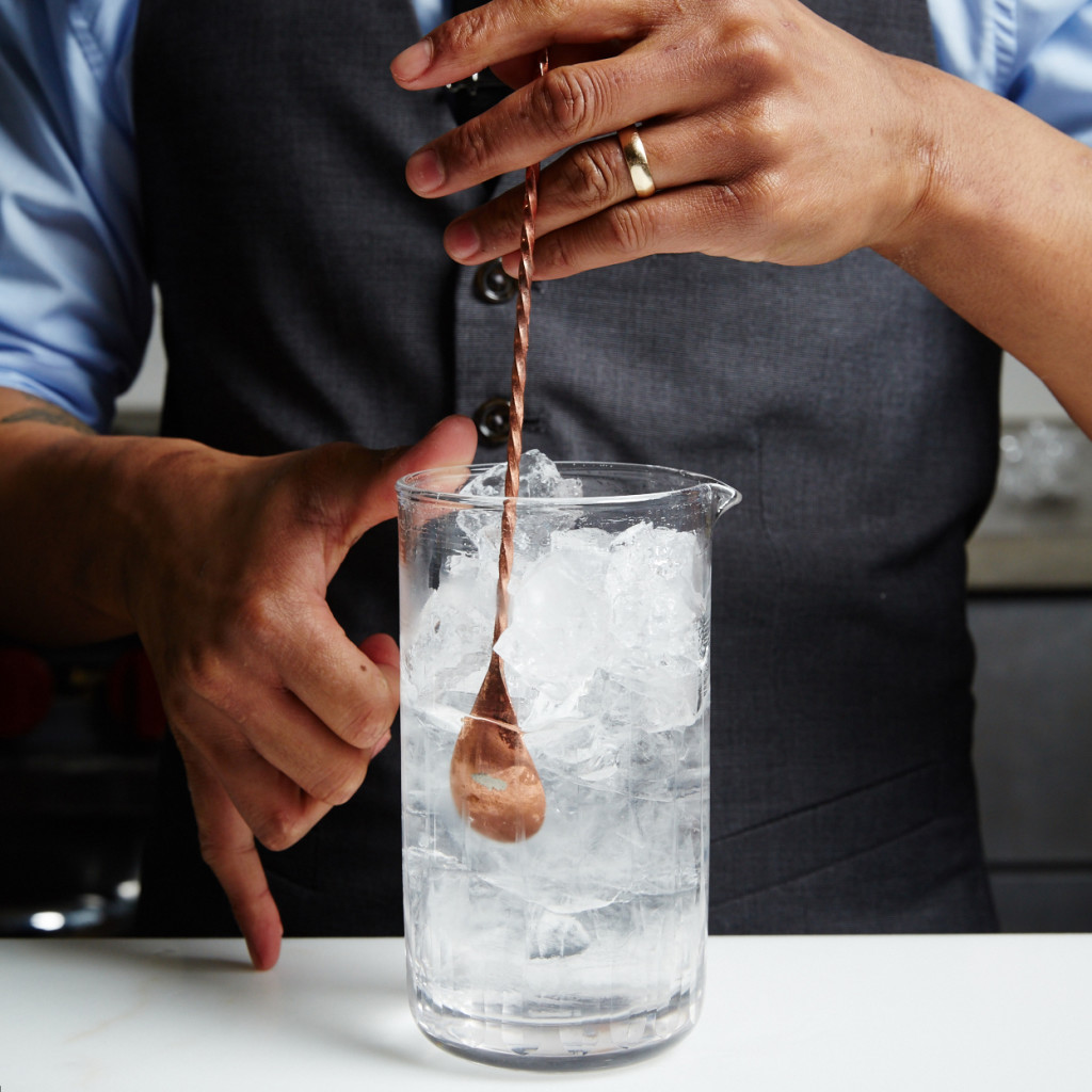 Bartender stirring a Dry Martini