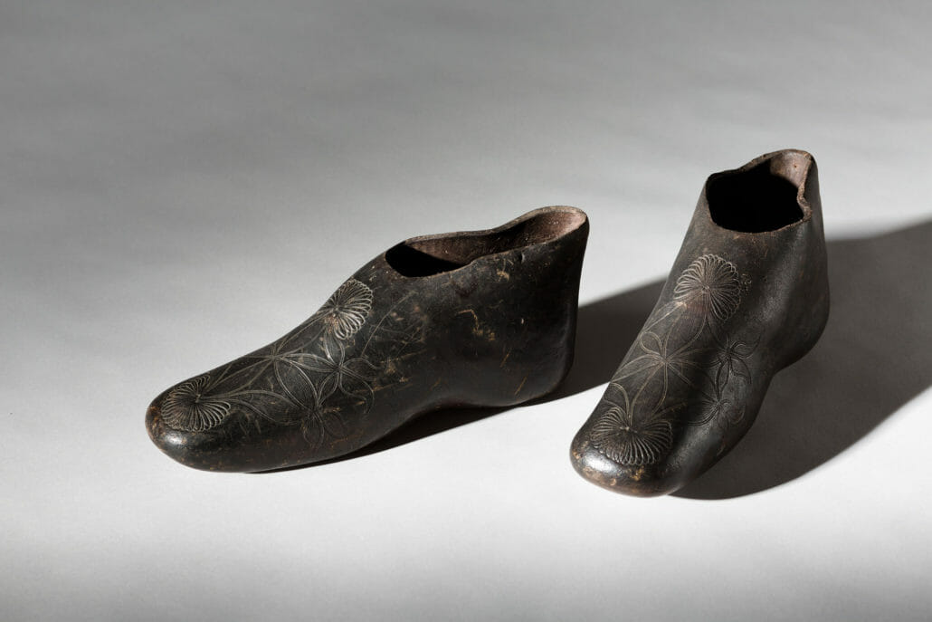 A pair of rubber overshoes from the early 19th century in the Bata Shoe Museum collection.