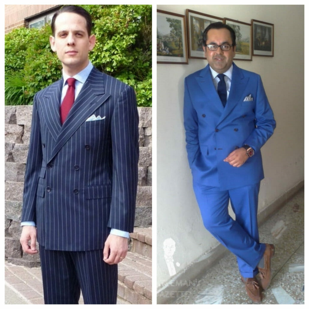 A navy suit is more formal than one in a brighter blue.