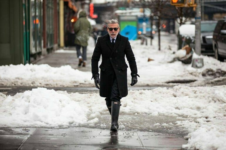 Nick Wooster wearing Wellington boots in NYC.