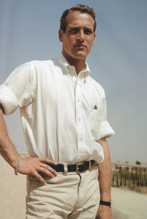 Paul Newman wears a classic oxford collar button down OCBD
