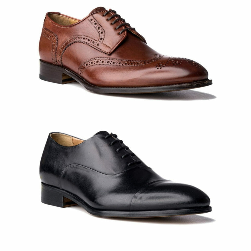 A cognac wingtip derby shoe with broguing versus a simple black captoe oxford, both from Acemarks