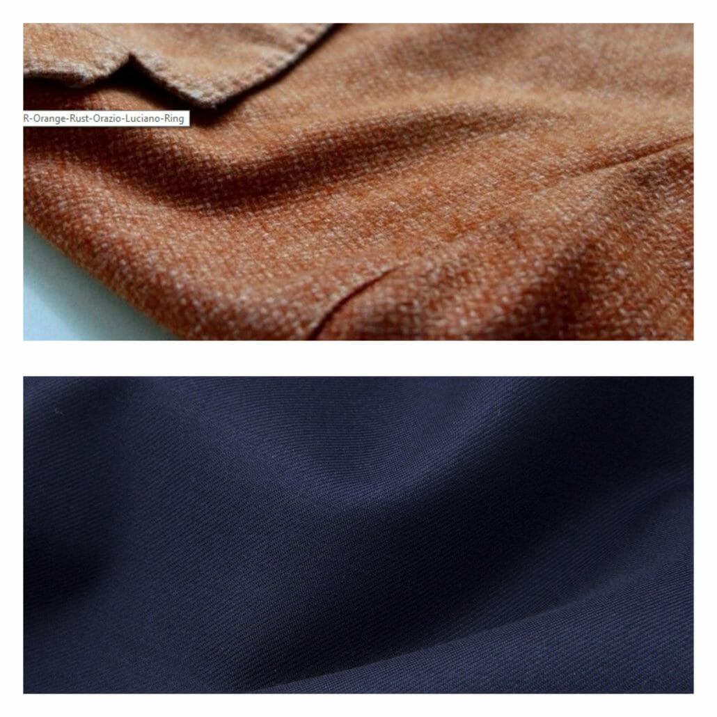The top fabric shows a prominent weave on a casual sports coat (as does the color); the bottom shows a formal Super 150s worsted wool.