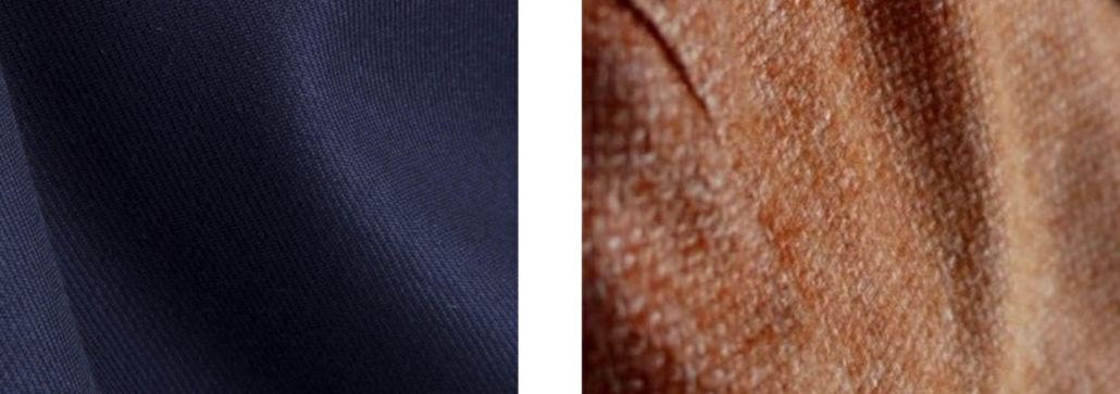 The left fabric shows a formal Super 150s worsted wool, whereas the right shows a prominent weave on a casual sports coat.