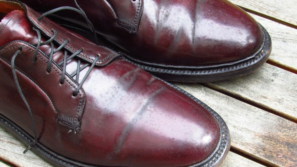Water damaged cordovan shoes on vcleat.