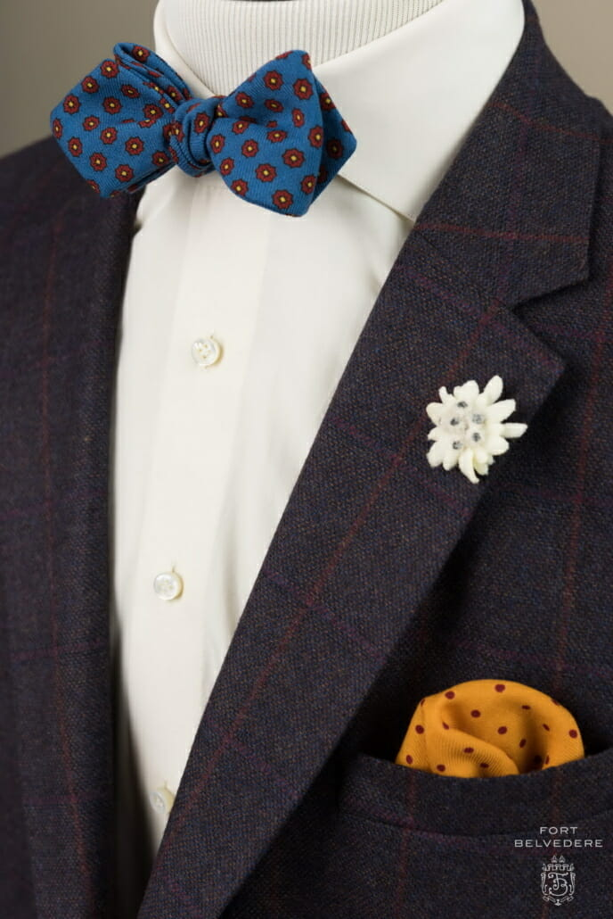 7d00ccfc2027 A yellow wool challis pocket square provides an opportunity to introduce an  additional color.