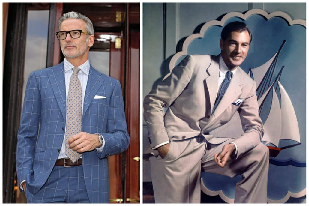 A contemporary Cesare Attolini suit with a high gorge; Gary Cooper in the late 1930s wearing a suit with a low gorge