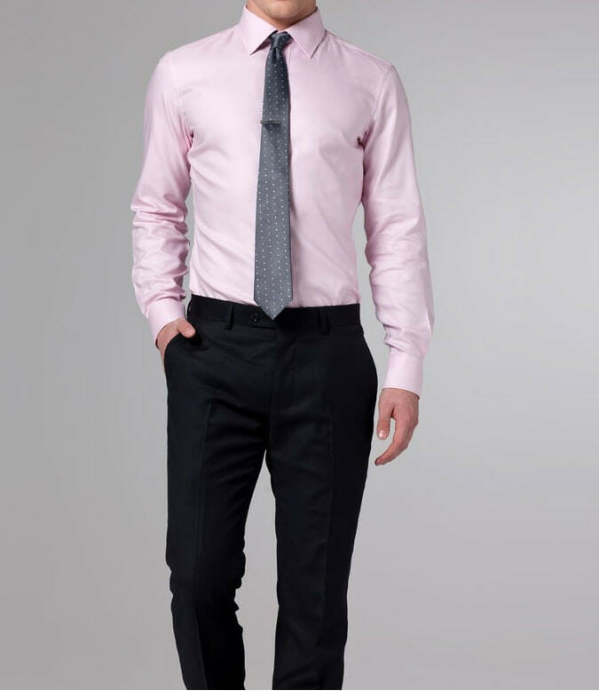 Domple Mens Printed Lapel Long Sleeve Formal Regular Fit Button Down Dress Work Shirt