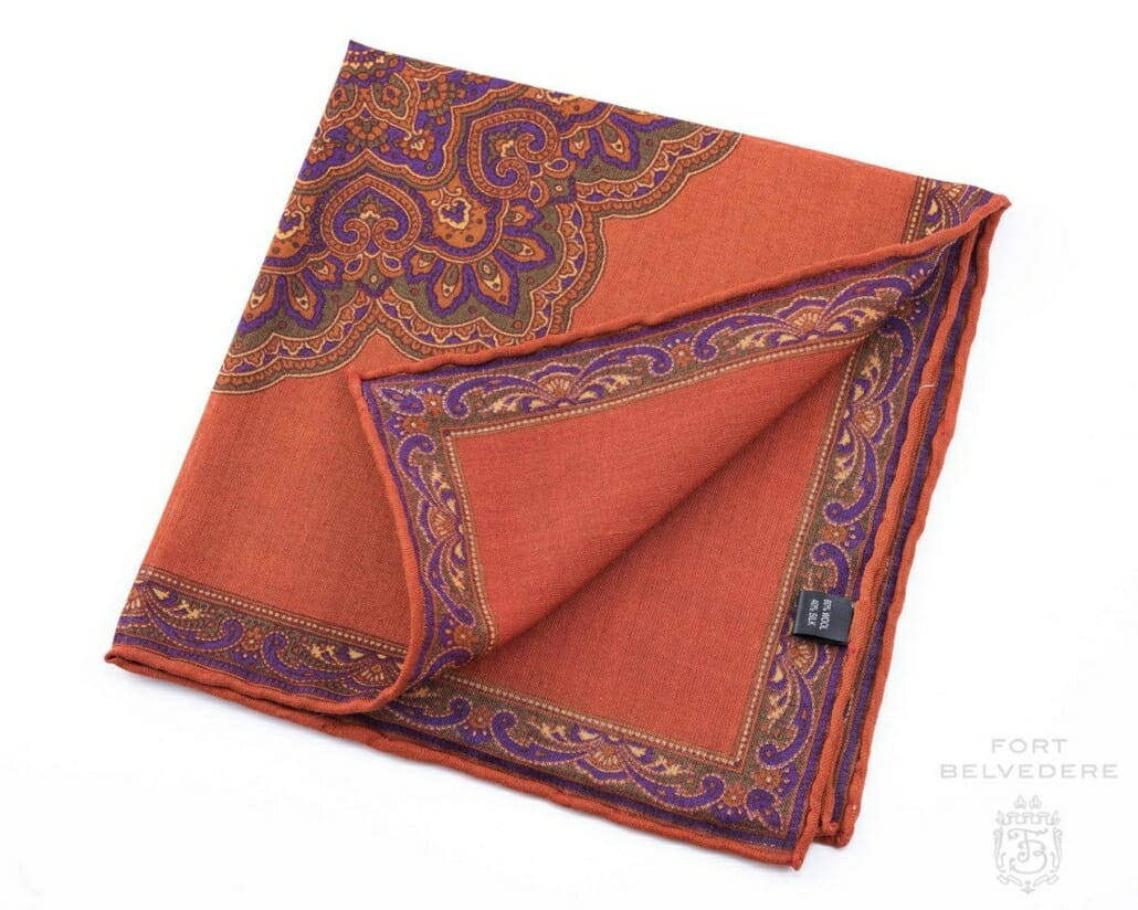 9b3a1a485ff91 Burnt Orange Silk-Wool Pocket Square with Paisley Motifs - Fort Belvedere