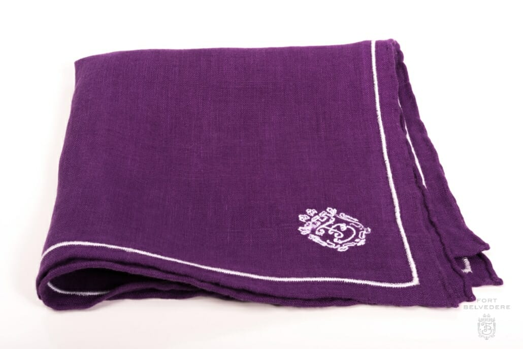 bb985512f136c Purple Linen Pocket Square with Silver Grey Contrast Embroidery - Fort  Belvedere