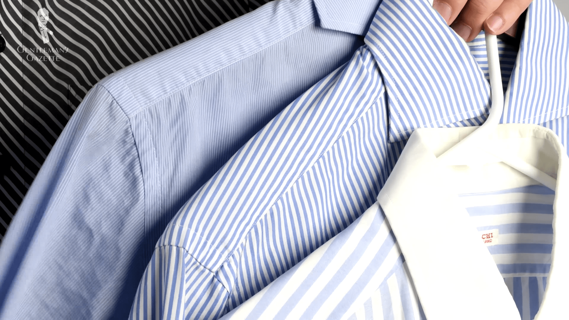 A few of Sven Raphael's blue dress shirts