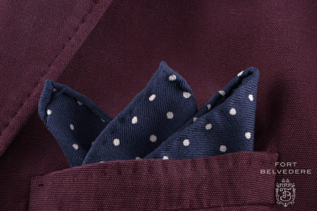 Wool Challis Pocket Square in Navy with White Polka Dots - Fort Belvedere
