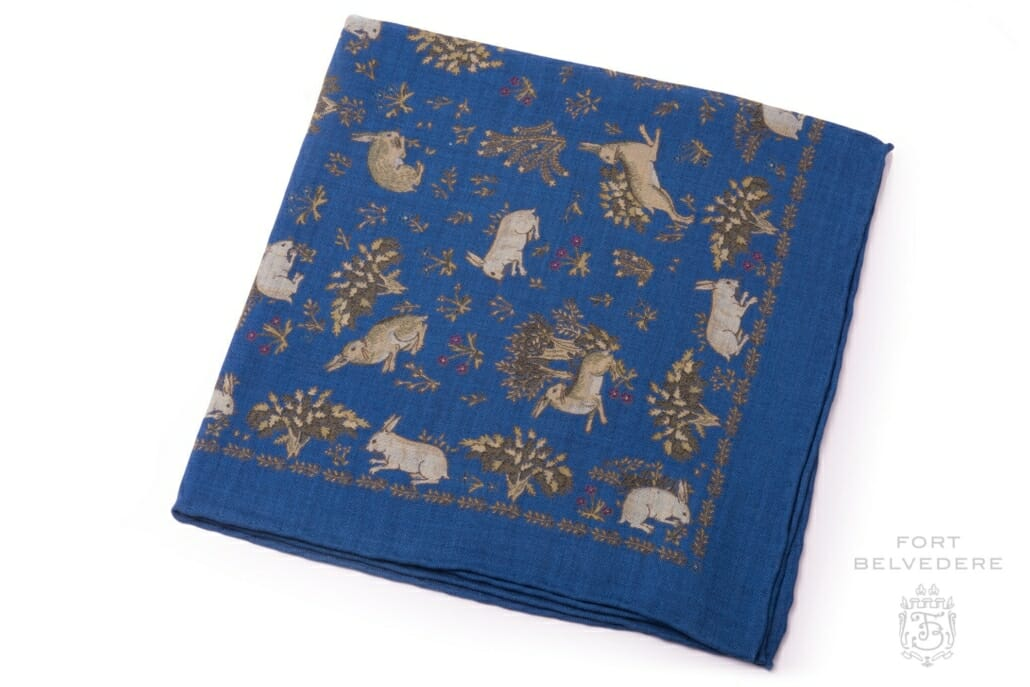 719e20a034918 Pale Green Rabbits on Mid Blue Silk Wool Pocket Square - Fort Belvedere