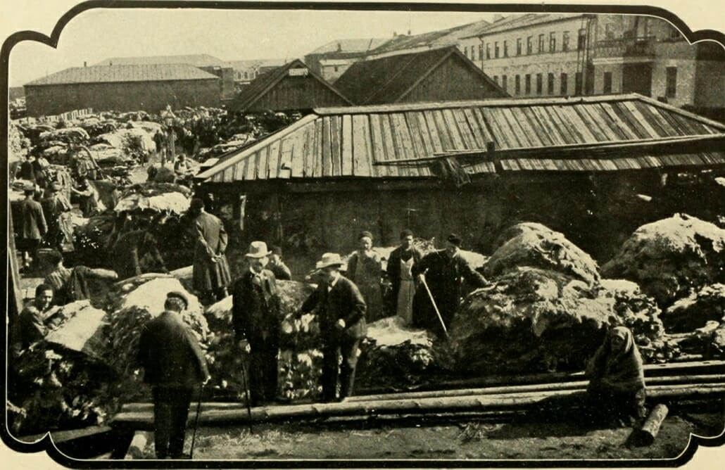 Hides piled up outside the tannery