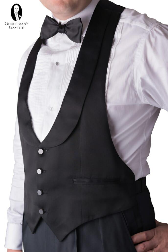 Black Tie Tuxedo Evening Waistcoat Vest