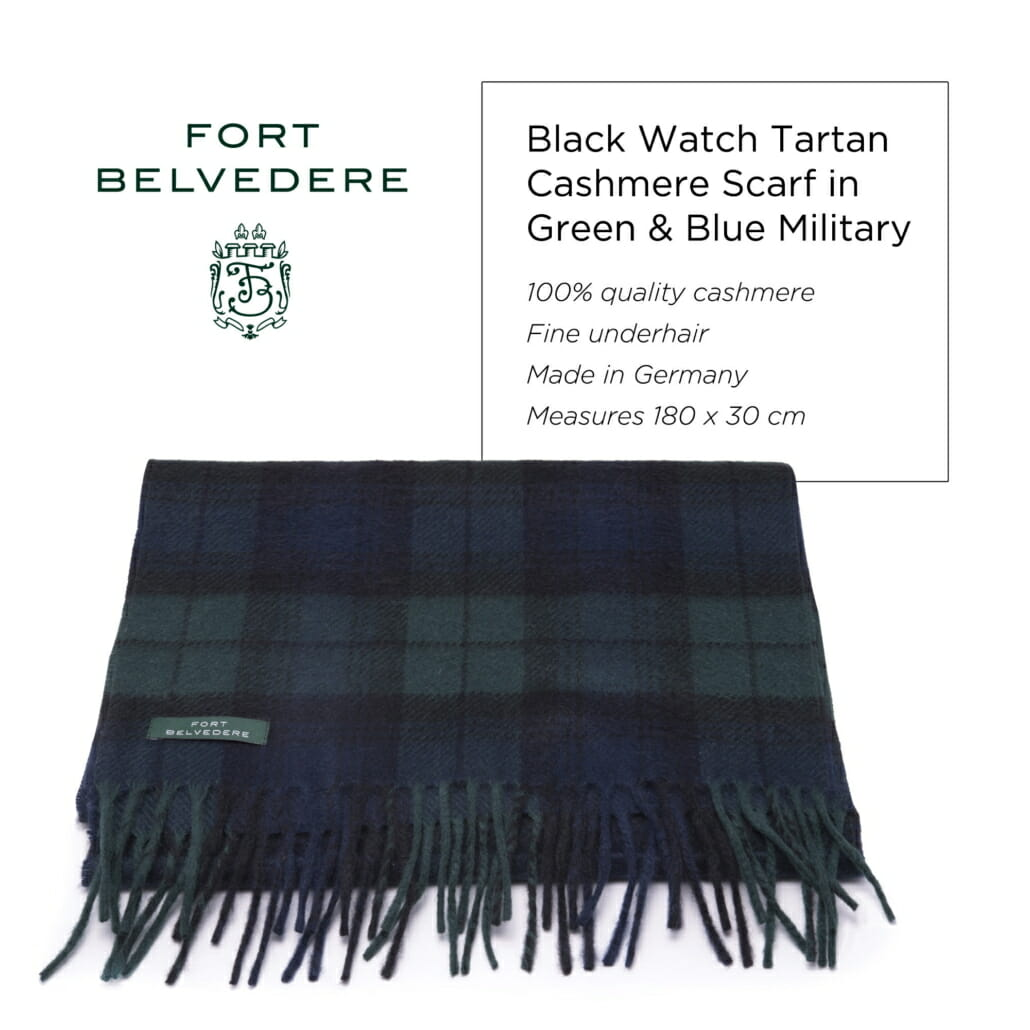 Black Watch Tartan Cashmere Scarf in Green & Blue