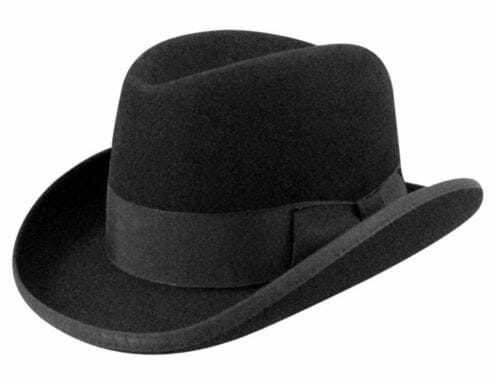 Homburgs have stiffed curled brims and grosgrain bands.
