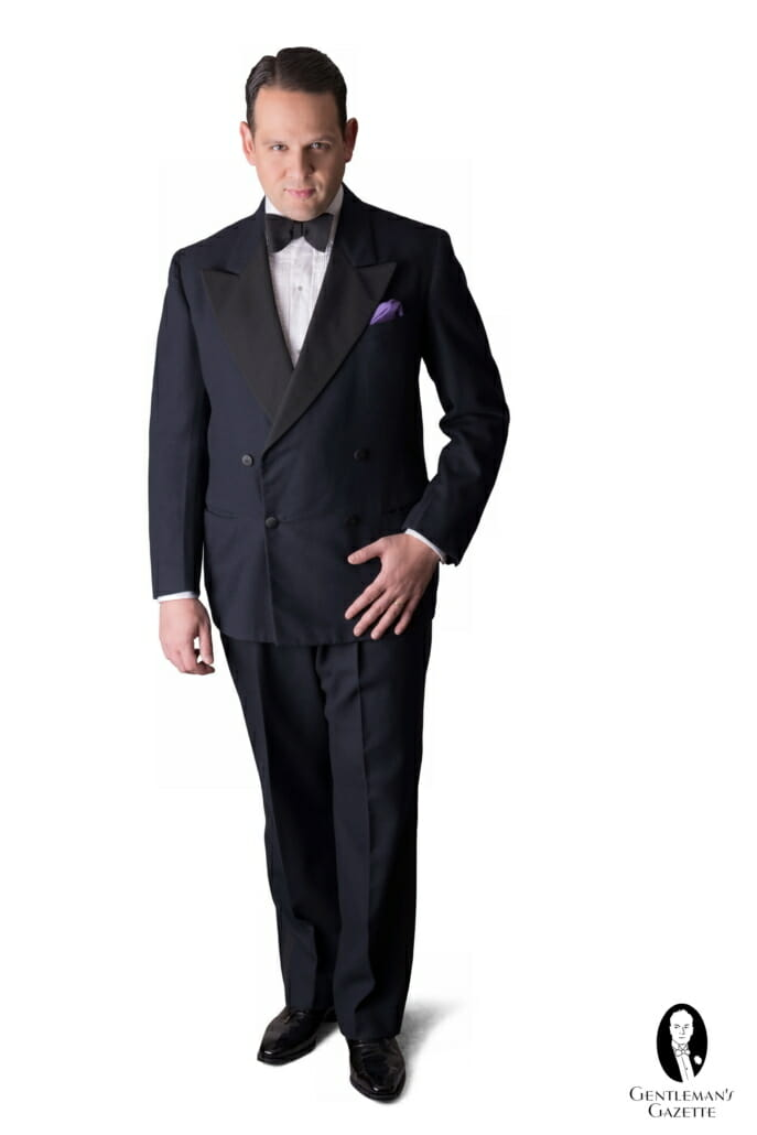 Midnight blue DB custom vintage 1930s tuxedo from a local consignment shop